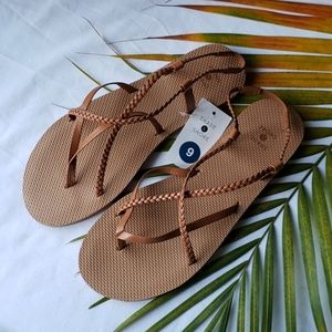 Women's Braided Thong Sandals - cognac